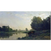"Trademark Global Charles Daubigny ""He Banks of the Oise, 1866"" Canvas Art, 35"" x 47"""