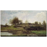 "Trademark Global Charles Daubigny ""The Lock at Optevoz, 1855"" Canvas Art, 35"" x 47"""