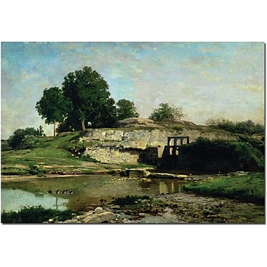Trademark Global Charles Daubigny in.The Lock at Optevoz, 1859in. Canvas Art, 30in. x 47in.