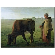 "Trademark Global Jean Millet ""Woman Grazing Her Cow, 1858"" Canvas Art, 18"" x 24"""