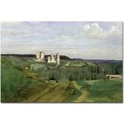 "Trademark Global Jean Baptiste Corot ""View of Chateau de Pierrefonds, 1840"" Canvas Art, 30"" x 47"""