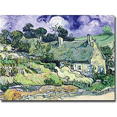 Trademark Global Vincent Van Gogh in.Cottages at Auvers-sur-Oisein. Canvas Art, 35in. x 47in.