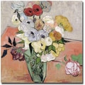 Trademark Global Vincent Van Gogh in.Roses and Anemones, 1890in. Canvas Art, 24in. x 24in.