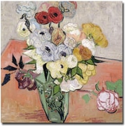 "Trademark Global Vincent Van Gogh ""Roses and Anemones, 1890"" Canvas Art, 24"" x 24"""