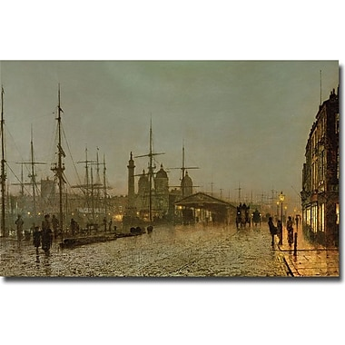 Trademark Global John Atkinson Grimshaw in.Hull Docks by Nightin. Canvas Art, 18in. x 24in.