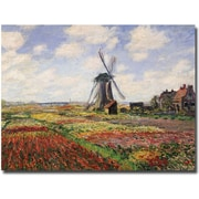 "Trademark Global Claude Monet ""Tulip Fields with Rijnsburg Windmill, 1886"" Canvas Art, 18"" x 24"""