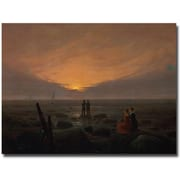 "Trademark Global Caspar David Friedrich ""Moon RIsing over the Sea, 1821"" Canvas Art, 18"" x 24"""