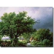 Trademark Global Bernard Cornelis Koekkoek Landscape with Mill Canvas Art, 35 x 47