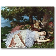 "Trademark Global Gustave Courbet ""Girls on the Banks of the Seine"" Canvas Art, 26"" x 32"""