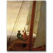 "Trademark Global Caspar David Friedrich ""On Board a Sailing Ship"" Canvas Art, 24"" x 18"""