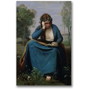 "Trademark Global Jean Baptiste Corot ""The Reader Crowned with Flowers"" Canvas Art, 24"" x 16"""