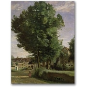 "Trademark Global Jean Baptiste Corot ""Outskirts of a village"" Canvas Art, 24"" x 18"""