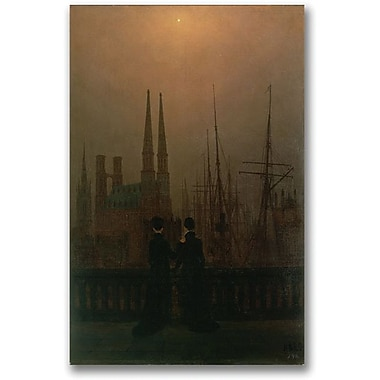 Trademark Global Caspar David Friedrich in.Harbor at Nightin. Canvas Art, 47in. x 35in.