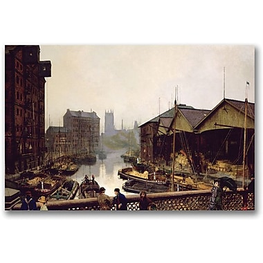 Trademark Global John Atkinson Grimshaw in.Leeds Bridge 1880in. Canvas Art, 16in. x 24in.