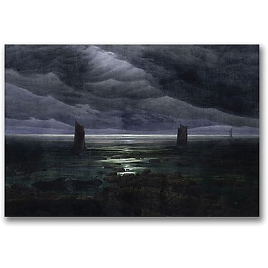 Trademark Global Caspar David Friedrich in.Sea Shore in Moonlightin. Canvas Art, 18in. x 24in.