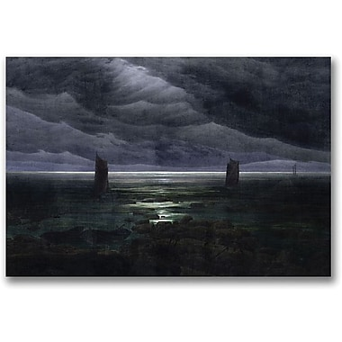 Trademark Global Caspar David Friedrich in.Sea Shore in Moonlightin. Canvas Art, 24in. x 32in.