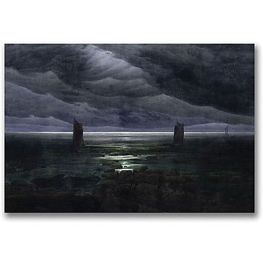 Trademark Global Caspar David Friedrich in.Sea Shore in Moonlightin. Canvas Art, 35in. x 47in.
