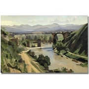 "Trademark Global Jean Baptiste Corot ""Nami The Bridge of Augustus"" Canvas Art, 30"" x 47"""