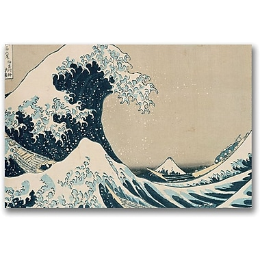 Trademark Global Kanagawa-Katsushika Hokusai in.The Great Wavein. Canvas Art, 30in. x 47in.