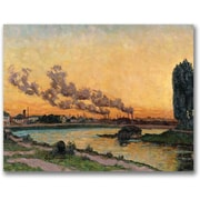 "Trademark Global Jean Baptiste Guillamin ""Setting sun at Ivry"" Canvas Art, 24"" x 32"""