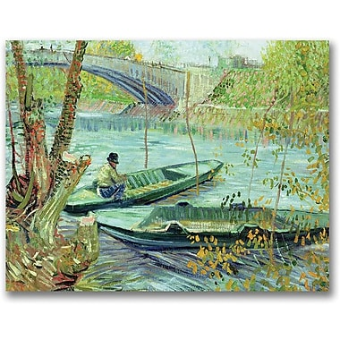 Trademark Global Vincent Van Gogh in.Fishing in the Springin. Canvas Art, 35in. x 47in.