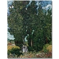Trademark Global Vincent Van Gogh in.The Cypressesin. Canvas Art, 24in. x 18in.