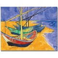 Trademark Global Vincent Van Gogh in.Fishing Boats on the Beachin. Canvas Art, 24in. x 32in.