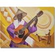 Trademark Global Djibrirou Kane in.Guitarist in Traditional Attirein. Canvas Art, 35in. x 47in.