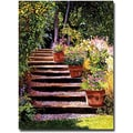 Trademark Global David Glover in.Pink Daisies Wooden Stepsin. Canvas Art, 32in. x 24in.