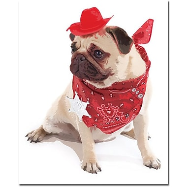 Trademark Global in.Pug Cowboyin. Canvas Art, 32in. x 26in.