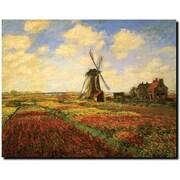 Trademark Global Claude Monet Tulips in a field Canvas Art, 18 x 24