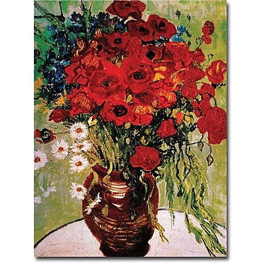 Trademark Global Vincent Van Gogh in.Dasies & Poppiesin. Canvas Art, 14in. x 19in.