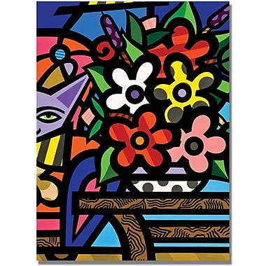 Trademark Global in.Cat with Flowersin. Canvas Art, 32in. x 24in.