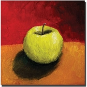 "Trademark Global Michelle Calkins ""Granny Smith with Gold and Red"" Canvas Art, 35"" x 35"""