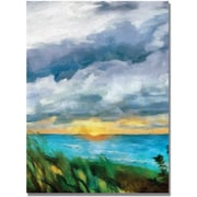 "Trademark Global Michelle Calkins ""Sunset over the Lake II"" Canvas Art, 47"" x 30"""