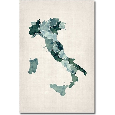 Trademark Global Michael Tompsett in.Italy Watercolor Mapin. Canvas Art, 47in. x 30in.