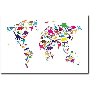 Trademark Global Michael Tompsett in.Dinosaur World Mapin. Canvas Art, 16in. x 24in.