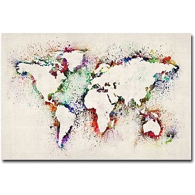 Trademark Global Michael Tompsett in.World Map Paint Splashesin. Canvas Art, 30in. x 47in.