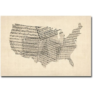 Trademark Global Michael Tompsett in.USA Old Sheet Music Mapin. Canvas Art, 30in. x 47in.