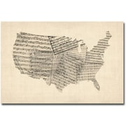 "Trademark Global Michael Tompsett ""USA Old Sheet Music Map"" Canvas Art, 30"" x 47"""