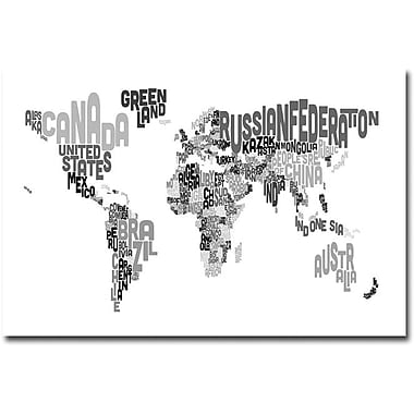 Trademark Global Michael Tompsett in.World Text Mapin. Canvas Art, 16in. X   24in.