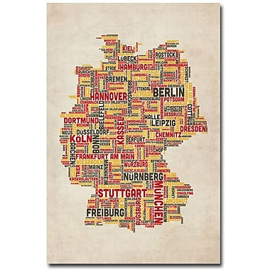 Trademark Global Michael Tompsett in.Germany - Cities Text Mapin. Canvas Arts