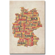 "Trademark Global Michael Tompsett ""Germany - Cities Text Map"" Canvas Art, 24"" x 16"""
