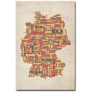 "Trademark Global Michael Tompsett ""Germany - Cities Text Map"" Canvas Art, 47"" x 30"""