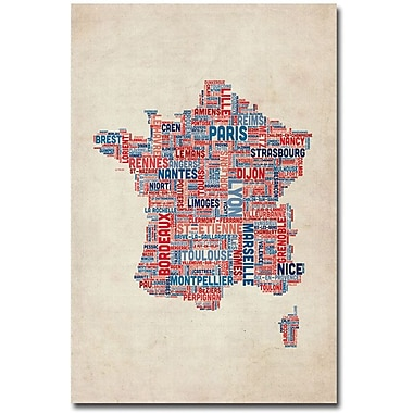 Trademark Global Michael Tompsett in.France - Cities Text Mapin. Canvas Art, 24in. x 16in.