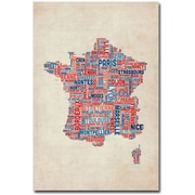 "Trademark Global Michael Tompsett ""France - Cities Text Map"" Canvas Art, 24"" x 16"""