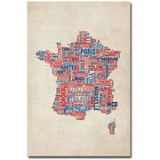"Trademark Global Michael Tompsett ""France - Cities Text Map"" Canvas Art, 47"" x 30"""