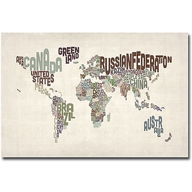 Trademark Global Michael Tompsett in.World Text Mapin. Canvas Art, 30in.X  47in.