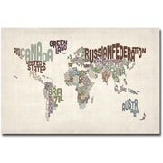 "Trademark Global Michael Tompsett ""World Text Map"" Canvas Art, 30""X  47"""