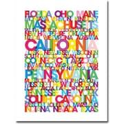 "Trademark Global Michael Tompsett ""States of the US"" Canvas Art, 24"" x 18"""